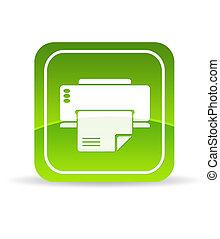 skrivare, grön, ikon