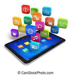 skrivblock persondator, med, moln, av, ansökan, ikonen