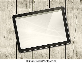 skrivblock persondator, ved, digital, bord, vit
