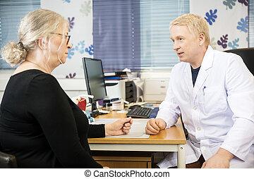 skrivbord, läkare, tålmodig, senior, meddela