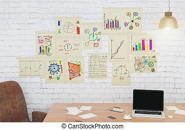 skrivbord, med, affär, topplista, på, papper, på, väggen, begrepp