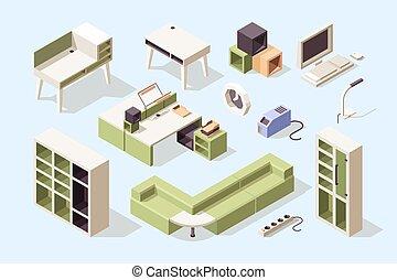 skrivbord, stol, kontor, elegans, möblemang, vektor, kollektion, bordläggar, soffor, isometric, kabinett, redskapen, furniture., affär