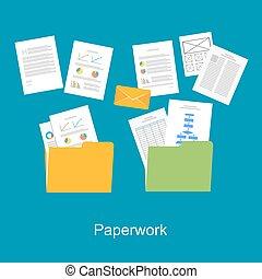skrivbordsarbete, icon., dokument