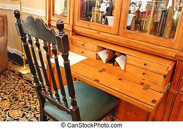 skrive skrivebord, og, stol