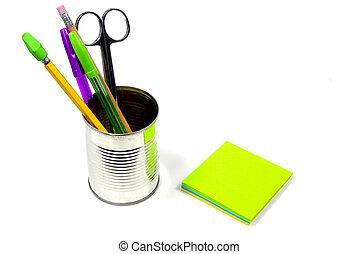 skrivebord, genstænder, 2