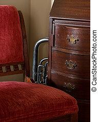 skrivebord, stol, horn