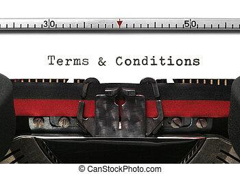 skrivemaskine, betalingsvilkår, og, betingelserne