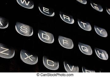 skrivemaskine, gamle, klaviatur