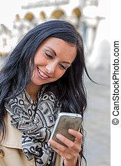 skriver, kvinna, sms