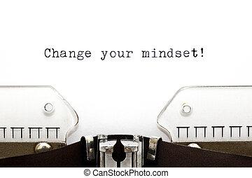 skrivmaskin, ändring, din, mindset