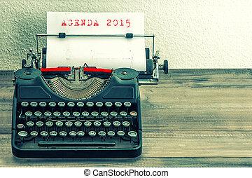 skrivmaskin, med, vit, papper, page., dagordning, 2015