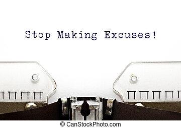 skrivmaskin, stopp, tillverkande ursäktar