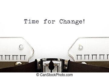 skrivmaskin, tid, för, ändring