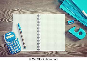 skrivpapper, anteckningsbok, öppna, färgrik
