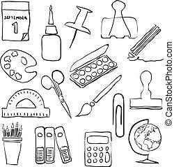 skrivpapper, avbildar, skiss