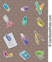 skrivpapper, klistermärken