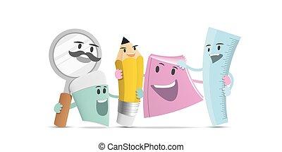 skrivpapper, tecken, illustration, concept., vänskap, vector., design, tecknad film, grupp, utbildning
