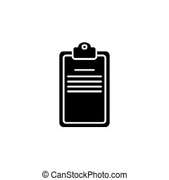 skrivplatta, checklista, illustration, eller, vektor, svart fond, vit, icon.