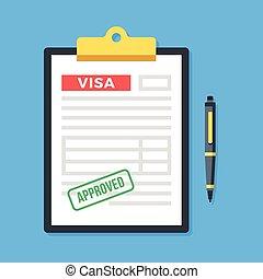skrivplatta, med, visum, ansökan, godkänd, stämpel, och, pen., godkännande, tillåtelse, granted, applicera, för, visum, concepts., topp, utsikt., nymodig, lägenhet, design, vektor, illustration