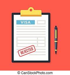 skrivplatta, med, visum, ansökan, tillbakavisad, stämpel, och, pen., förnekande, tillåtelse, förneka, applicera, för, visum, concepts., topp, utsikt., nymodig, lägenhet, design, vektor, illustration