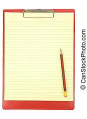 skrivplatta, röd