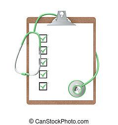 skrivplatta, stetoskop