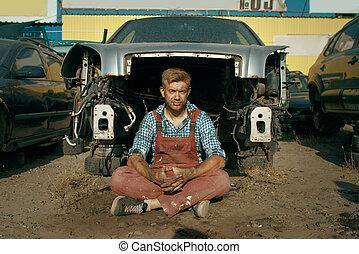 skrotupplag, manlig, ge sig sken, mekaniker, bil