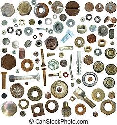 skrue, rustne, gamle, samling, hoveder