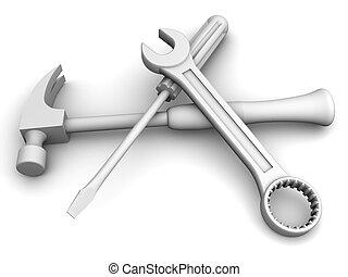 skruenøgl, skruetrækker, redskaberne, hammer.
