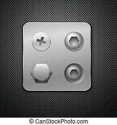 skruer, og, rivets., elementer, by, din, design.,...