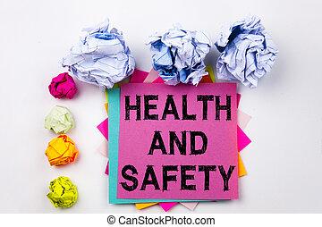 skruva, begrepp, affärskontor, text, visande, isolerat, klistrig anteckning, bakgrund., skriftligt, papper, säkerhet, konstruktion, hälsa, balls., skrift, vit, medvetenhet