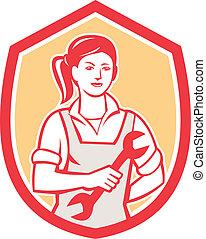 skruvnyckel, kvinnlig, retro, mekaniker, skydda