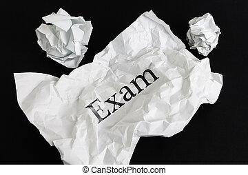 skrynkligt, ark, examen, isolerat, papper, svart, ord