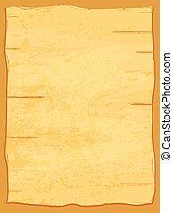 skrynkligt, gammal, paper., papyrus, gul, vektor, ark