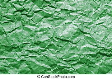 Skrynkligt, papper, grön