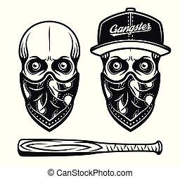 skrzepiać biret, twarz, gangster, baseball, bandana