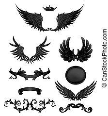 skrzydełka, elementy, 10eps, wysoki, projektować, jakość