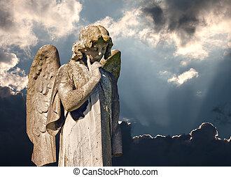 skrzydlaty, statua anioła, w, cmentarz