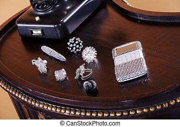 skrzynia, delikatny, biżuteria
