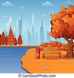 skrzynia, miasto, śmieci, park ława, jesień, rzeka