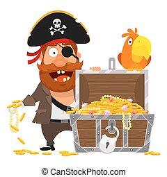 skrzynia, papuga, złoty, pirat