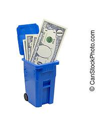 skrzynia, pieniądze, pełny, przerabianie surowców wtórnych, nie