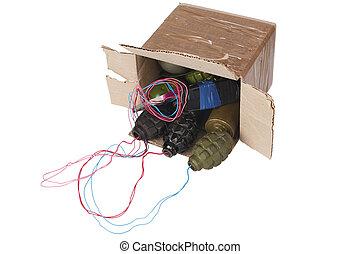 skrzynka pocztowa, litera, wybuchowy, bomba, ied,...