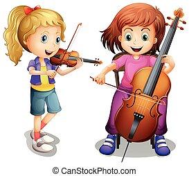 skrzypce, dziewczyny, interpretacja, wiolonczela