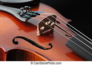 skrzypce, szczegół, do góry, instrument