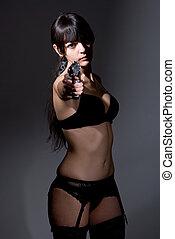skud, i, en, sexet, militær, kvinde, poser, hos, kanoner