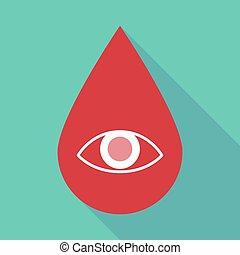 skugga, droppe, ögon, blod, länge