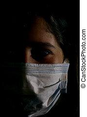 skugga, hersel, ansikte mask, stående, skydda, flicka