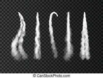 skugga, raket, launch., utrymme, röka