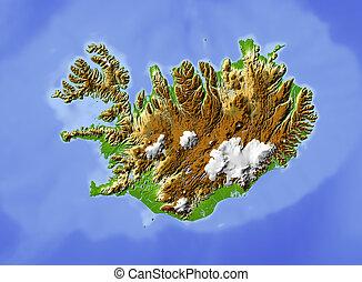 skuggat, lättnad, island, map.